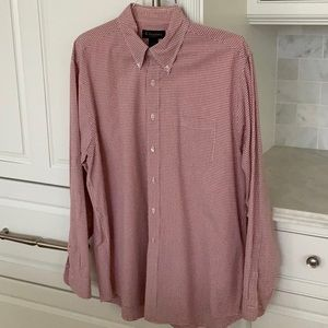 BROOKS BROTHERS LS Red/White Gingham Sz L Worn 1-2